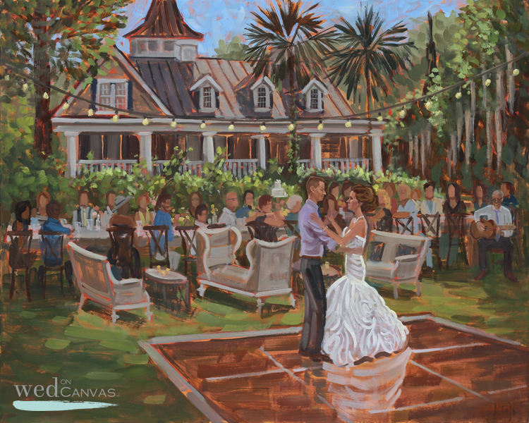Brittany + Jonathan commissioned live wedding painter, Ben Keys, to capture their reception at Charleston's Magnolia Plantation.