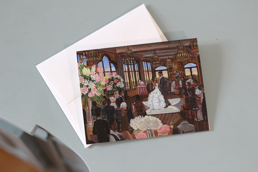 Claire + Marcus's live wedding painting looks gorgeous on our custom stationery!  Photo by Wed on Canvas