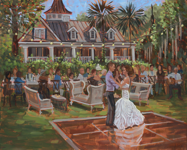 Live Wedding Painting | Magnolia Plantation, Charleston, SC