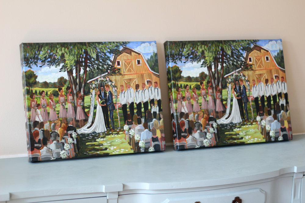 Both Fairview Farm + Danielle's parents ordered a print on canvas of the original live wedding painting!