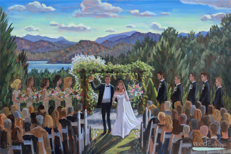 Live wedding painter, Ben Keys, captured Megan + Justin's ceremony overlooking the breathtaking mountain view from Sawyer Family Farmstead in Cashiers, NC.