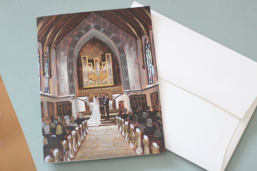 Kathryn + Aaron's gorgeous wedding day was held at the University of Richmond's Chapel.  Ben was so honored to capture their ceremony with a live wedding painting!