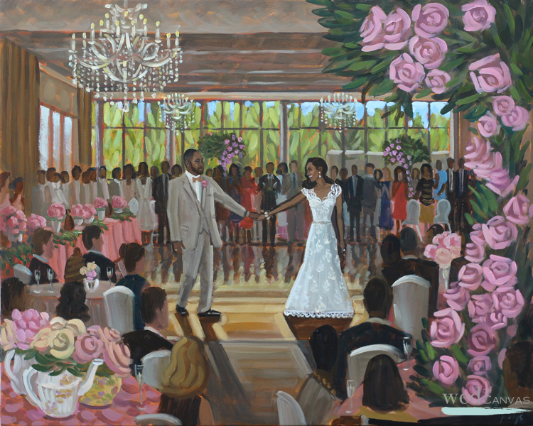 Live Wedding Painter, Ben Keys, captured C+A's Atlanta wedding day with a live painting.