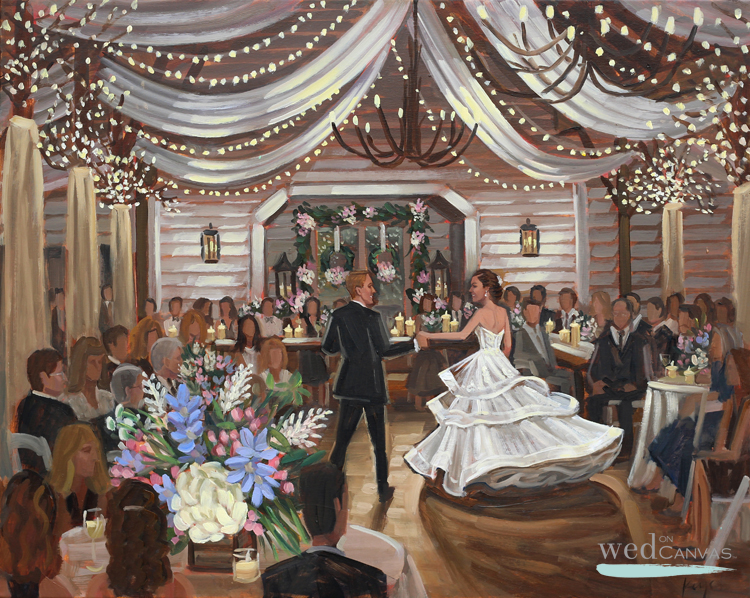 Live Wedding Painter, Ben Keys, captured K+A's first dance at Fearrington Village's charming Barn!