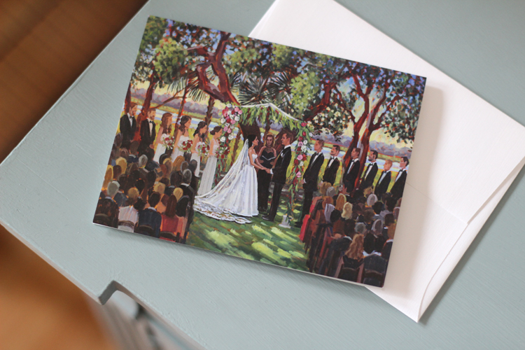 Lea + Justin ordered a custom set of stationery featuring their live wedding painting! |  Photo: Wed on Canvas