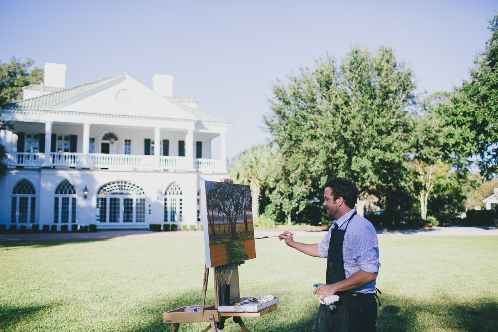 Live wedding painter, Ben Keys, capturing L+J's ceremony at Charleston's Lowndes Grove Plantation.