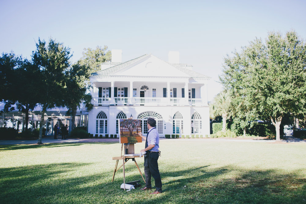 Ben Keys, Live Wedding Painter of Wed on Canvas, capturing L+J's ceremony held at Charleston's Lowndes Grove Plantation.