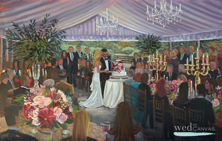 Live Wedding Painter, Ben Keys, captured Jessica + Ryan's cake cutting during their reception at the Hawkesdene House in Andrews, NC.