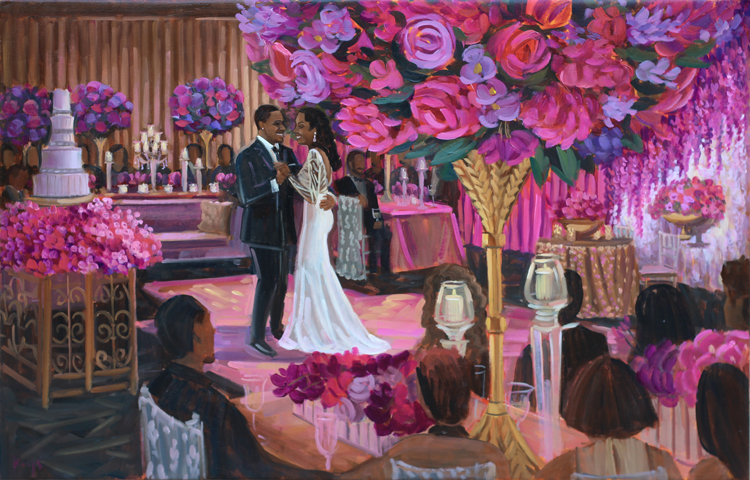 Live Wedding Painter, Ben Keys, was commissioned by V+A to capture their spectacular first dance moment during their glamorous reception held at Houston's Magnolia Hotel.