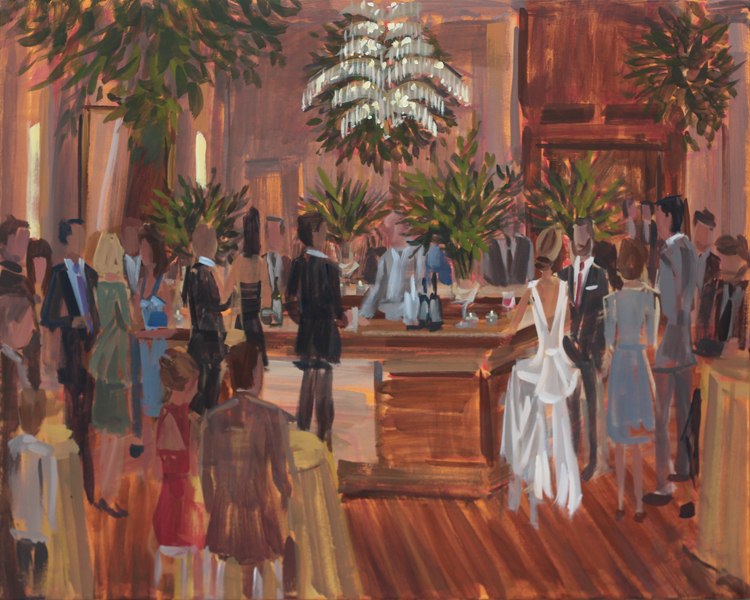 Live Wedding Painter, Ben Keys, captured Britt + Alex's wedding day with a unique bar scene moment.