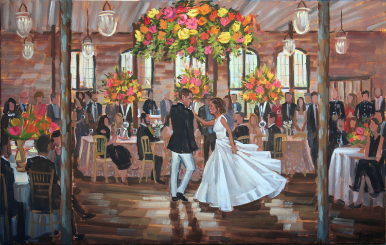 Live Wedding Painter, Ben Keys, captured M+G's first dance during their reception held at The Cigar Factory's Cedar Room.