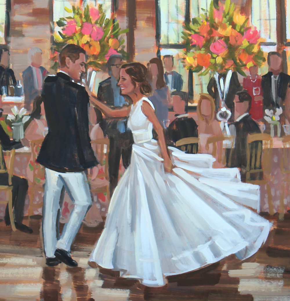 Close up of M+G's live wedding painting captured by Ben Keys of Wed on Canvas.