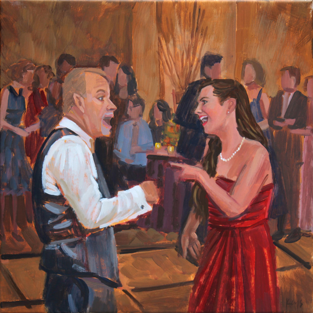 Wedding Painting | Father and Sister of the Bride