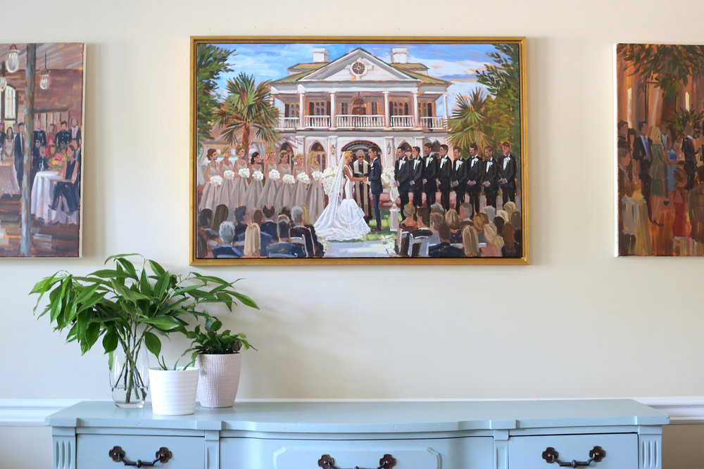 The Gold Leaf Floater Frame was a perfect finishing touch to Kim + Nick's finished live wedding painting.