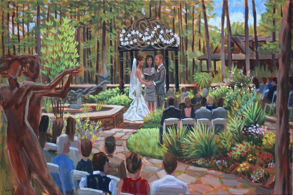 Live wedding painter, Ben Keys, captured Amy + Josh's intimate garden ceremony held at the C. Barton McCann School of the Art in Petersburg, PA.