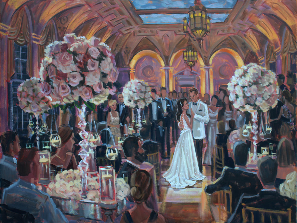 Live Wedding Painter, Ben Keys, captured Laura + Jonathan's spectacular first dance at The Breakers resort in Palm Beach, FL.