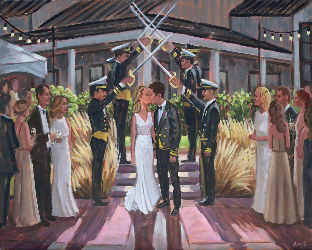 Live Wedding Painter, Ben Keys, captured Brittney + Brett's iconic walk under a sword arch just as they were exiting their ceremony held at Big Cork Vineyards in Rohrersville, MD