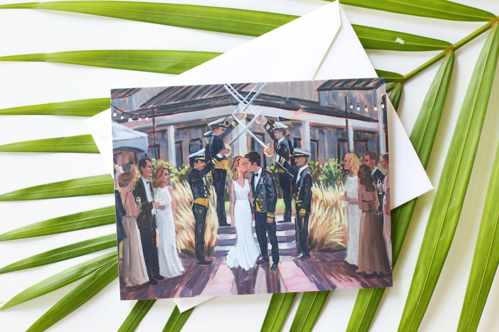 Brittney + Brett's custom set of stationery featuring their finished live wedding painting of their sword arch moment leaving their ceremony at Big Cork Vineyards.