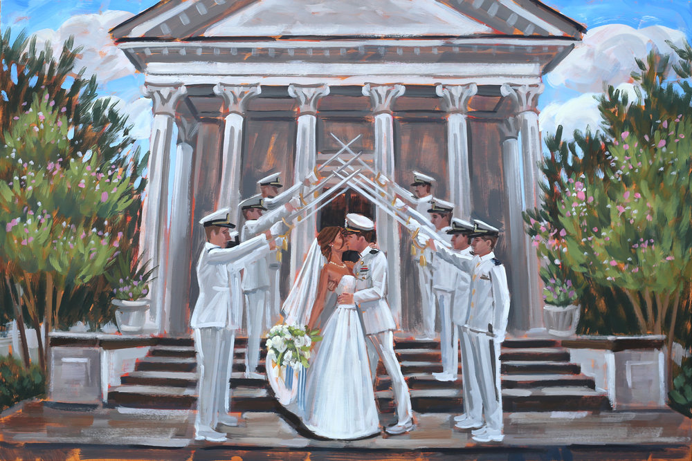 Live Wedding Painting | Trinity United Methodist Church, Charleston, SC