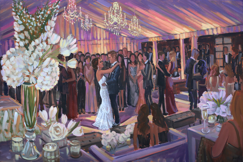 Live Wedding Painter, Ben Keys, captured A+R's romantic first dance during their reception held at Long Island's Westchester Country Club in New York.