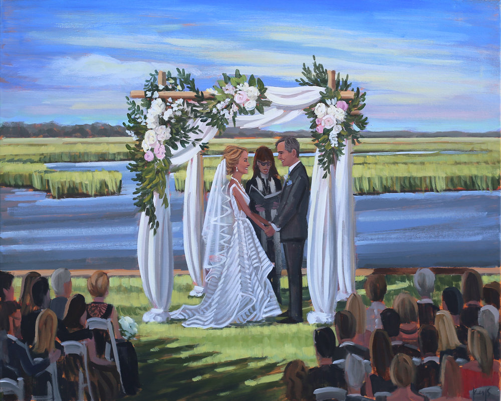 The waterfront view of Figure 8 Island Yacht Club was a perfect backdrop for Jennifer + Frank's live wedding painting by painter, Ben Keys, of Wed on Canvas.
