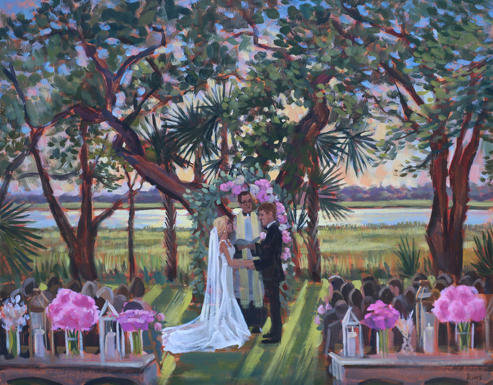 Live wedding painter, Ben Keys, captured Lindsay + Alex's gorgeous waterfront ceremony at downtown Charleston's Lowndes Grove Plantation