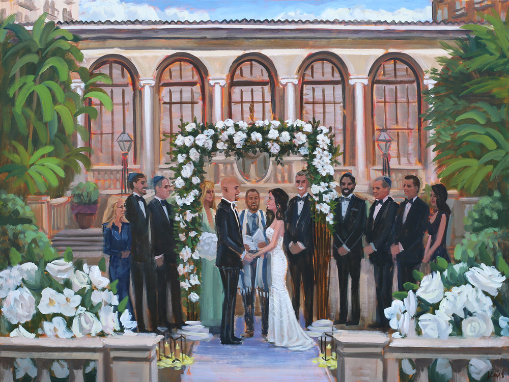 Live Wedding Painter, Ben Keys, captured Allyson + Derek's gorgeous ceremony that took place in Palm Beach, inside one of The Breaker's picturesque courtyards.