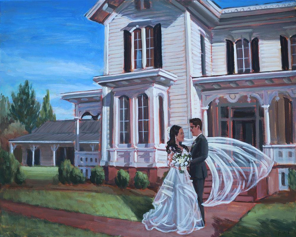 Grace + Matt commissioned live painter, Ben Keys, to capture their First Look that took place in front of downtown Raleigh's Merrimon-Wynne House.
