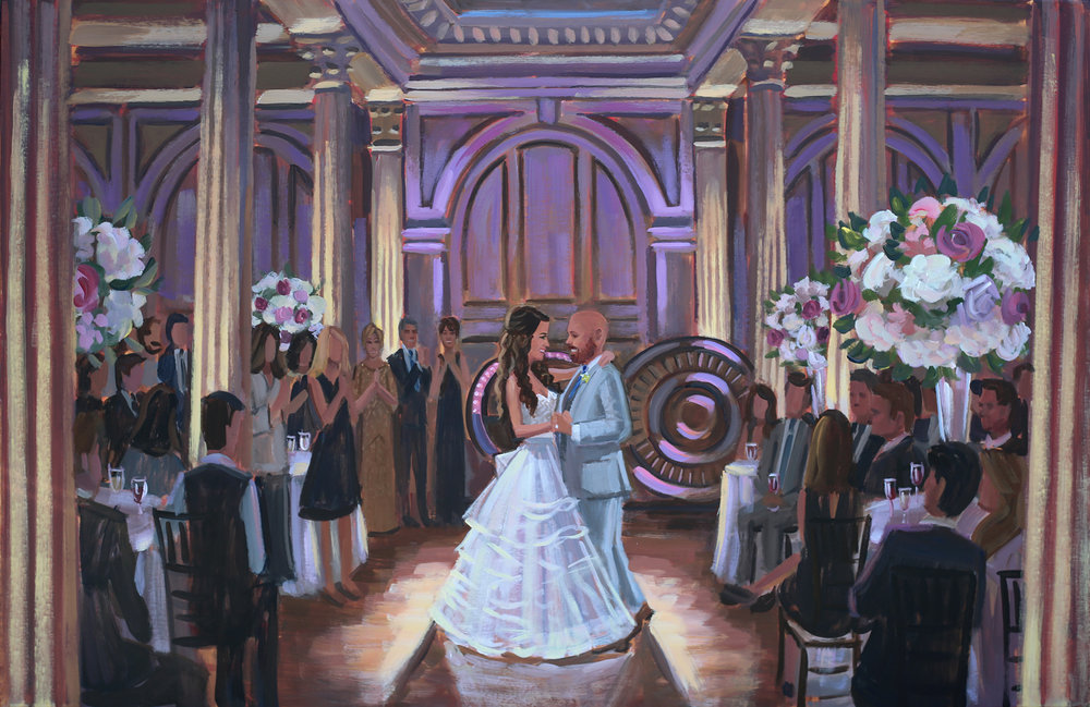 Live Wedding Painter, Ben Keys, captured Rob + Leslie's first dance at their reception held in historic downtown St. Augustine's Treasury on the Plaza.