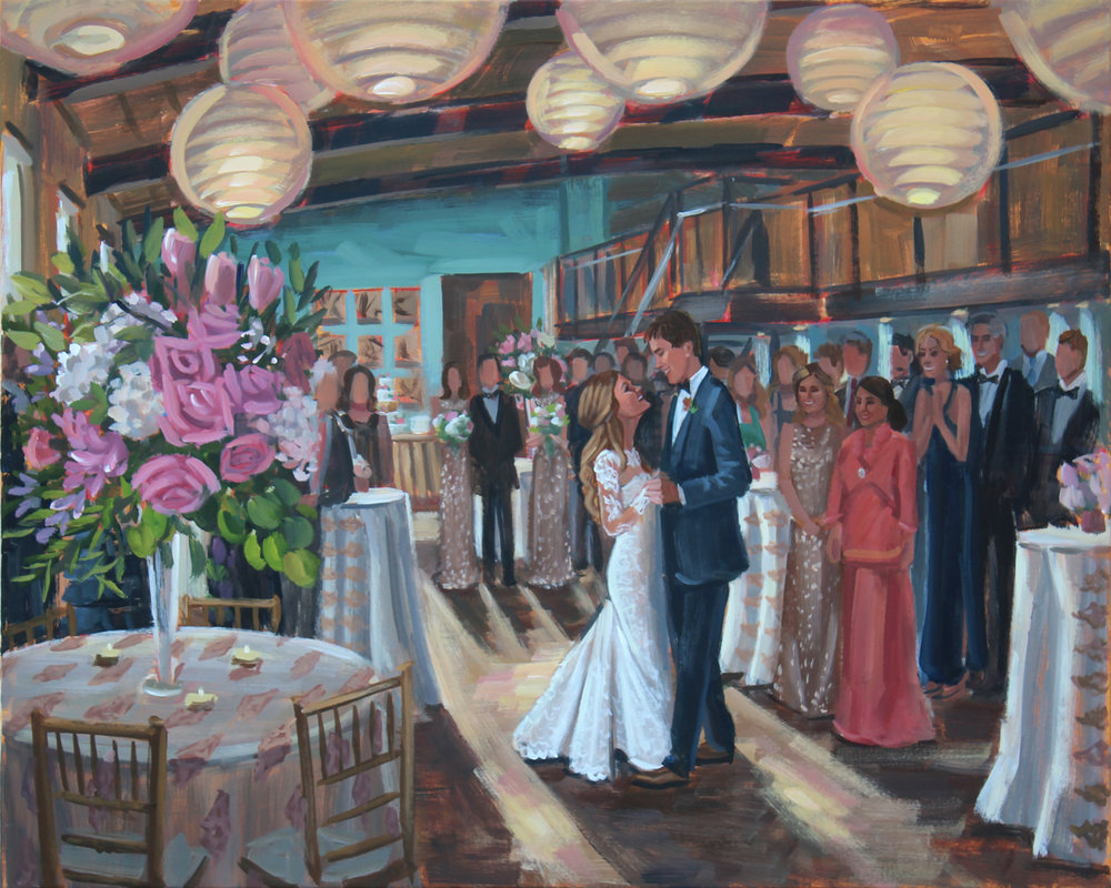 Live Wedding Painter, Ben Keys, of Wed on Canvas captured Madison + Will's magical first dance moment at Zen in downtown Greenville, SC.