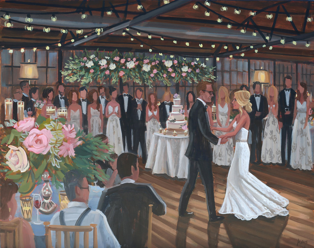 Live wedding painter, Ben Keys, captured Tori + Carter's lovely first dance inside Atlanta's Tuscan inspired venue at Summerour Studio.