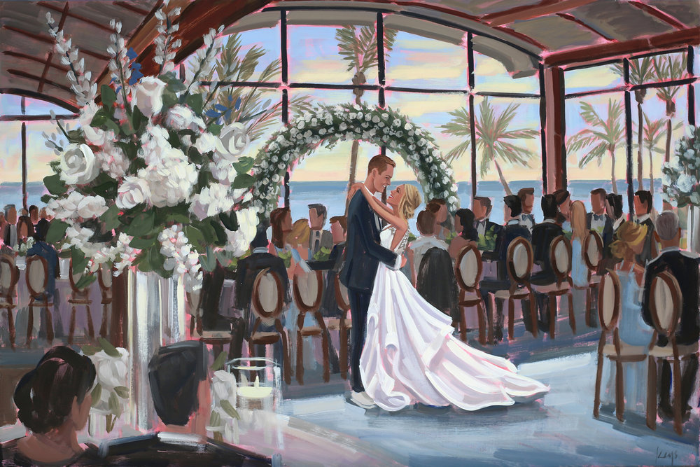 Mark + Ali's dream wedding at Sailfish Point on Hutchinson Island, FL was captured with a live painting by Ben Keys of Wed on Canvas.