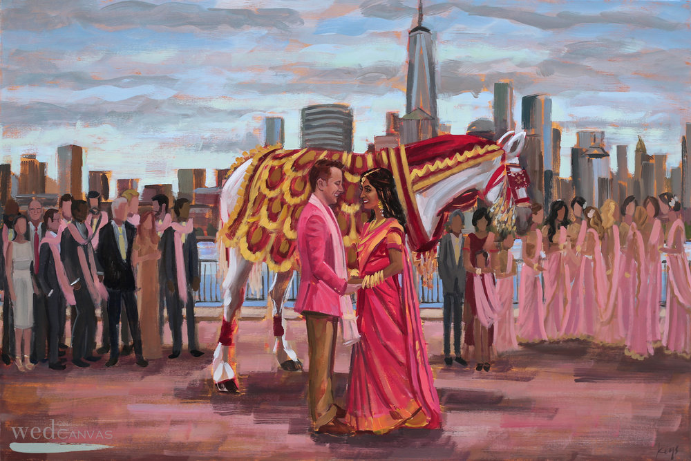 Live Wedding Painter, Ben Keys, captured Suma + Ben's Barat overlooking the gorgeous NYC skyline from Jersey City, NJ.