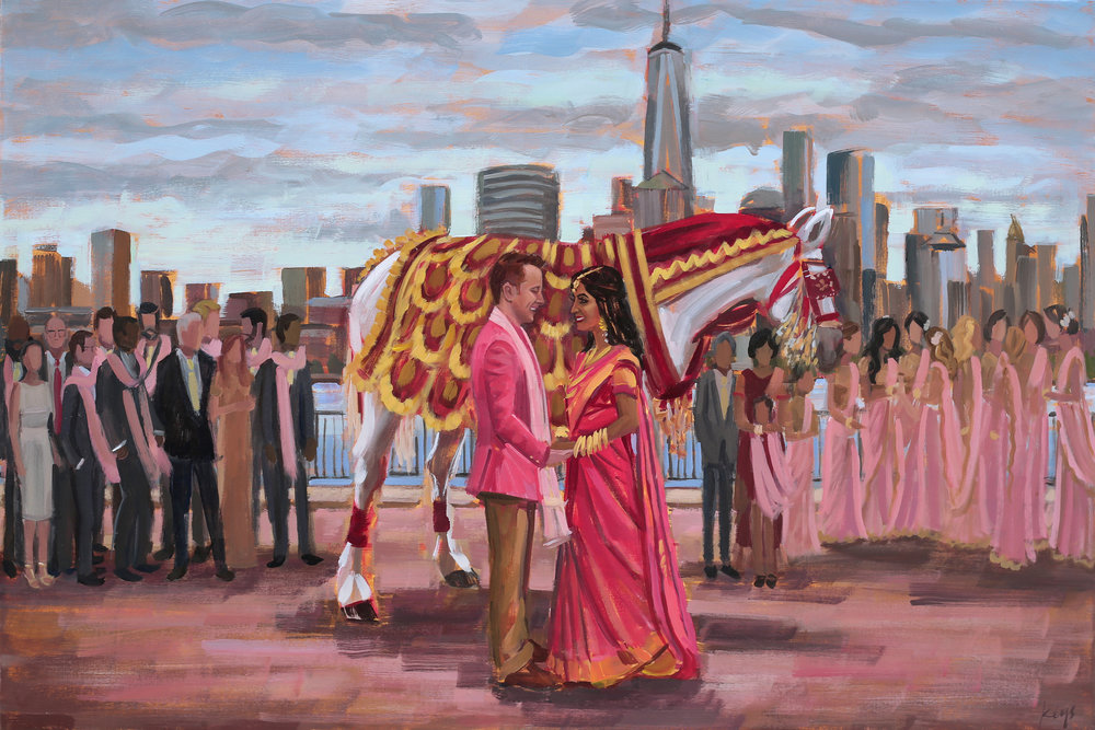 Hyatt Regency Jersey City on the Hudson | Live Wedding Painting