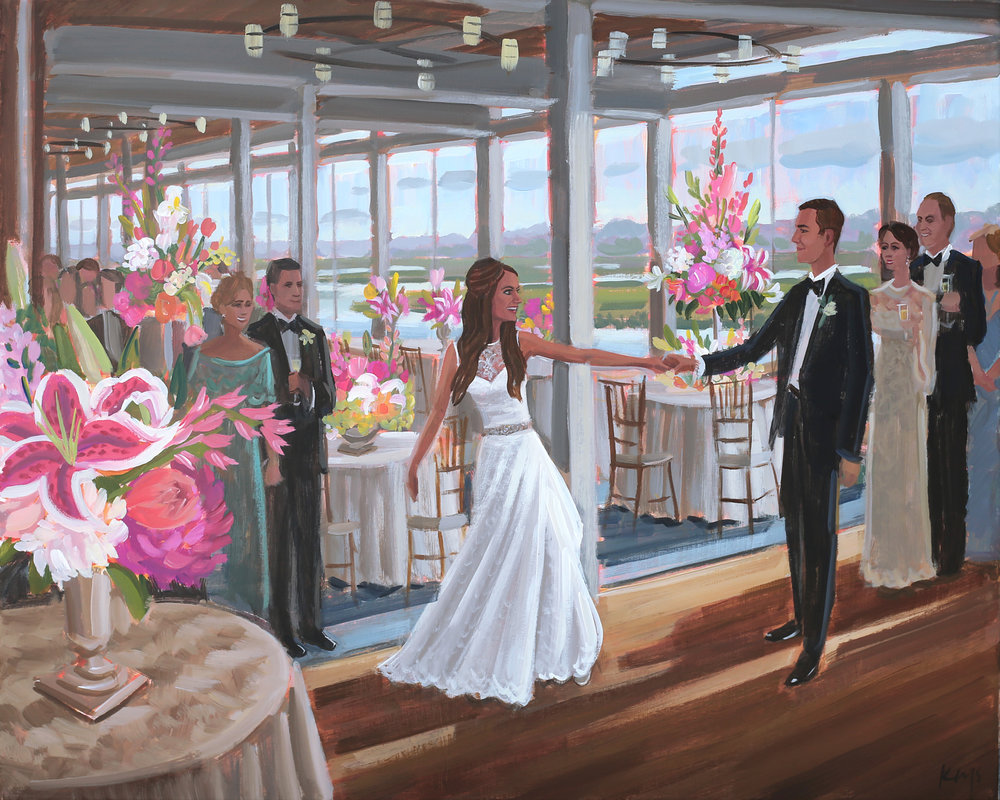 Figure 8 Island Yacht Club, Wilmington, NC | Live Wedding Painting