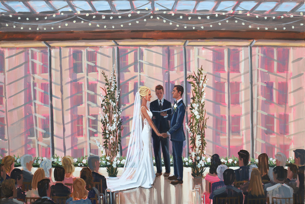 Live Wedding Painter, Ben Keys, captured E+M's breathtaking ceremony held at the Hamilton Garden inside Philadelphia's Kimmel Center.