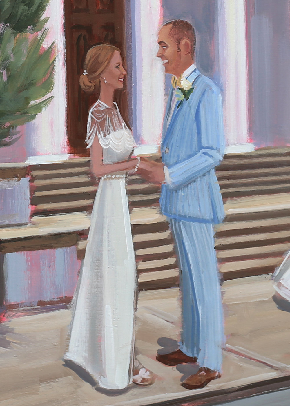 Close-Up of Anne + Jason's live wedding painting from downtown Charleston's Trinity United Methodist Church.