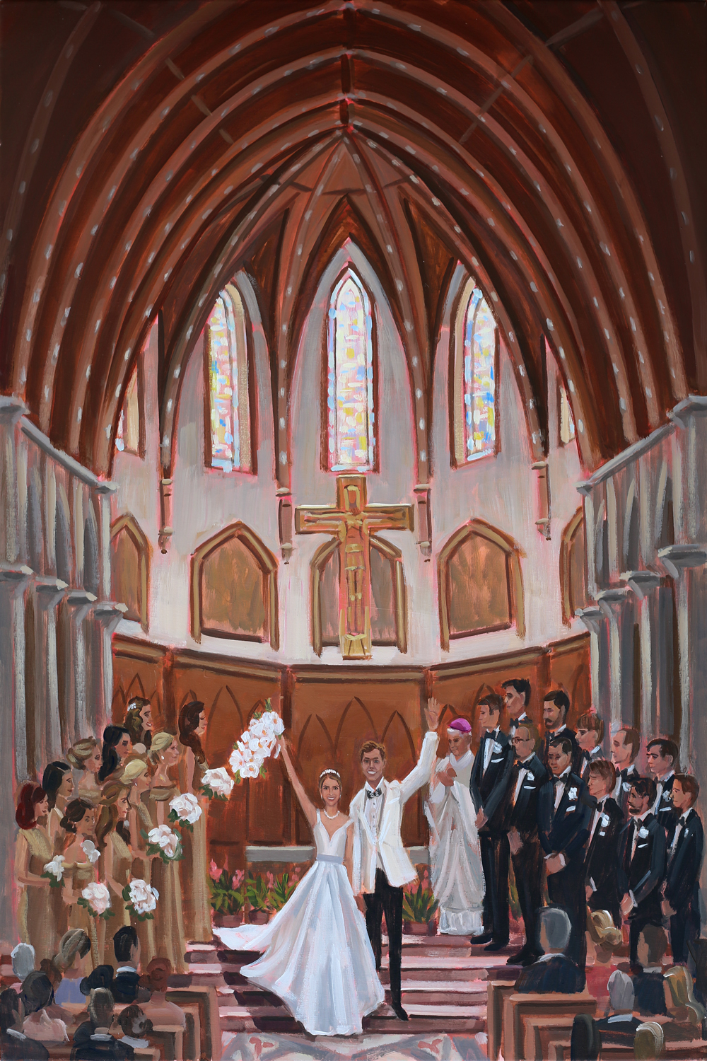 Live Wedding Painter, Ben Keys, captured MC+M's ceremony recessional held at Chicago's breathtaking Holy Name Cathedral.