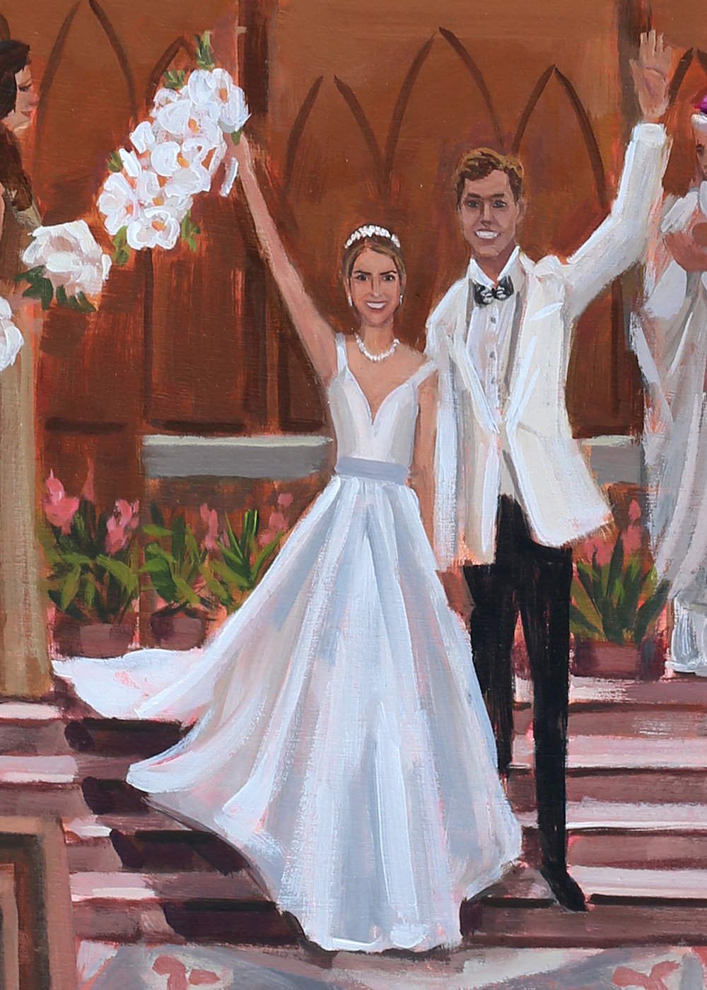 Close up of MC+M's live wedding painting, created by Ben Keys of Wed on Canvas.