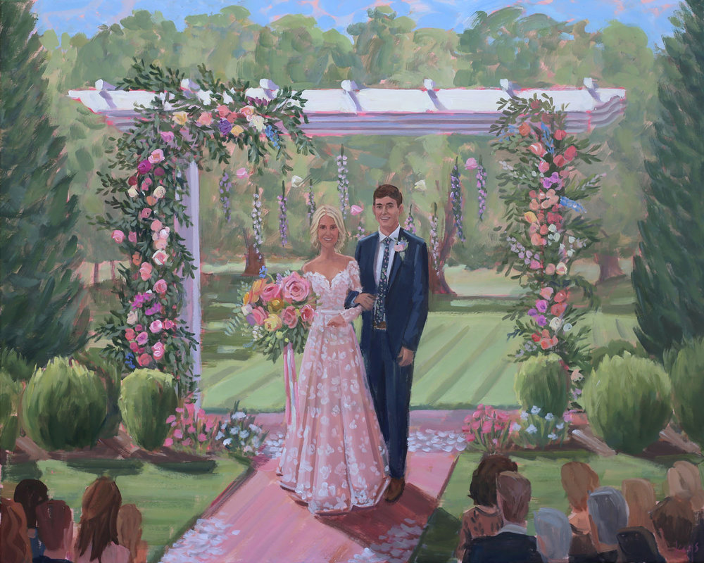 Live Wedding Painter, Ben Keys, captured Shelby + Preston's gorgeous wedding ceremony at Mockville, NC's dreamy Boxwood Estate.