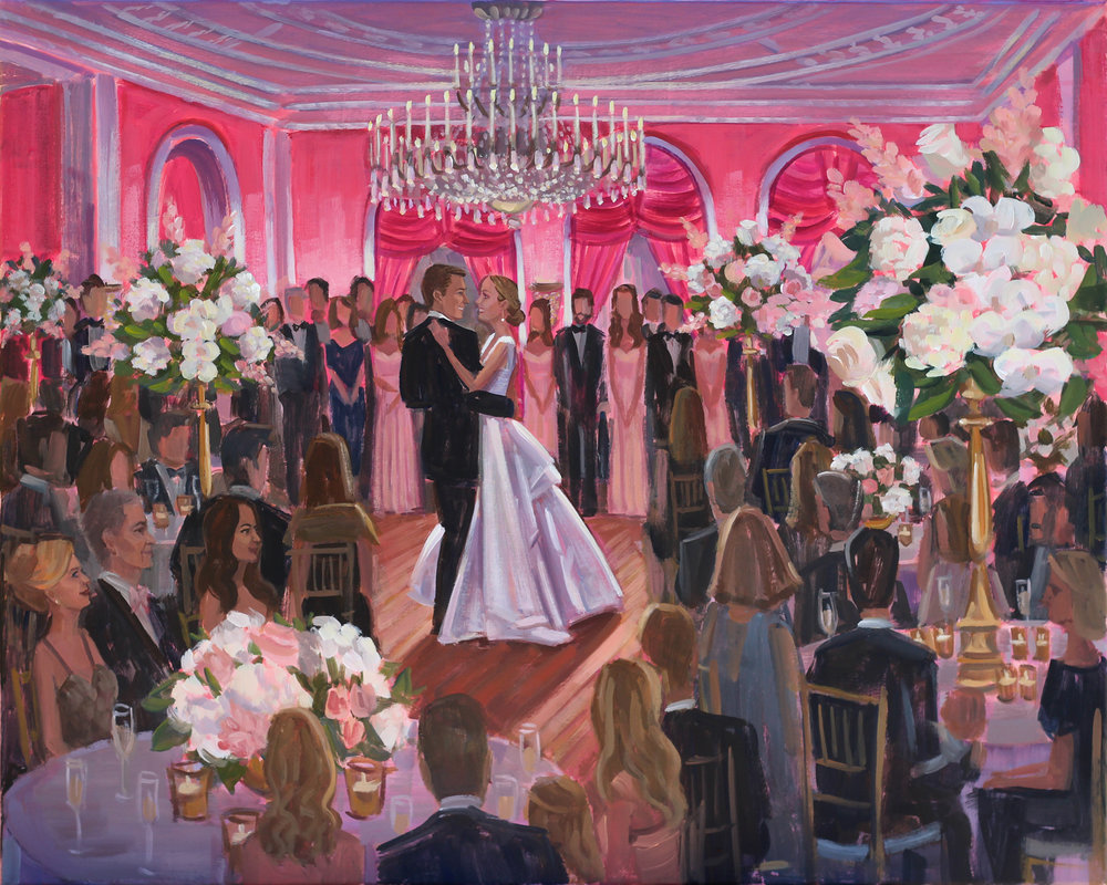 Live Wedding Painter, Ben Keys, captured Caroline + Wyatt's first dance in the magical Cameo Ballroom of The Greenbrier.