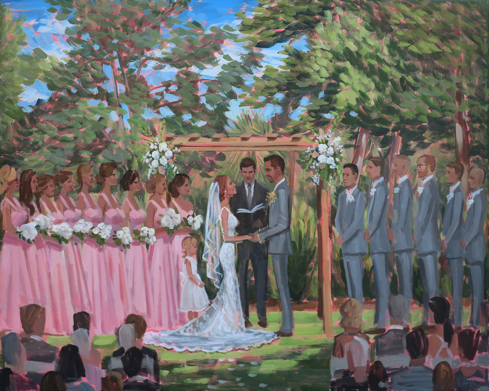 Wilmington Live Painter, Ben Keys, captured Jenna + Justin's dreamy garden ceremony that was held at the New Hanover County Arboretum.