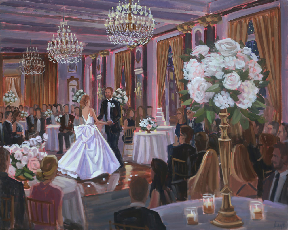 Baltimore Live Wedding Painter, Ben Keys, captured Avery + Robert's first dance held at the downtown historic Belvedere Hotel.