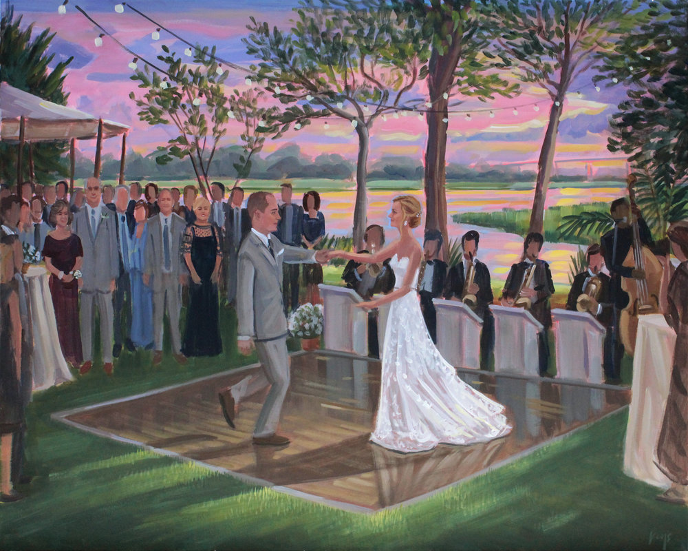 NC Live Wedding Painter, Ben Keys, captured Casey + Jordan's first dance at Jordan's beach house located on Sunset Beach.