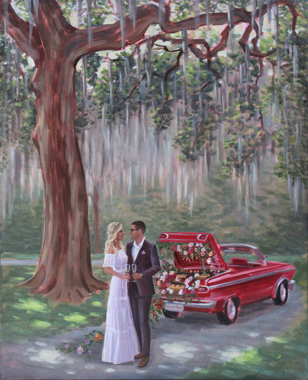 Charleston Live Wedding Painter, Ben Keys, captured Francesca + Justin's intimate Vow Renewal at Wingate Plantation.