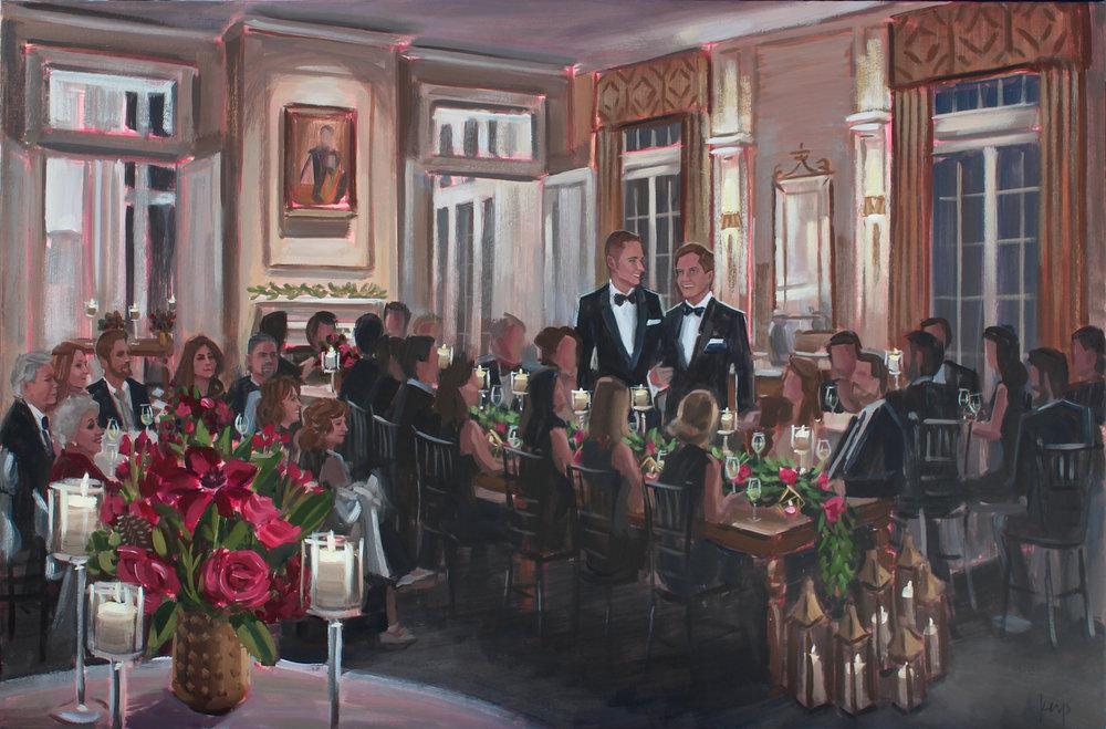 Live Engagement Painting by Ben Keys at Charlotte's historic Duke Mansion.