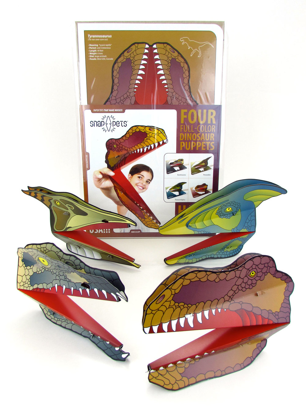 DINOSAUR PACK #2  Full-color Elasmosaurus, Parasaurolophus, Pteranodon and Tyrannosaurus   Open your wholesale account today!   Purchase via our store!