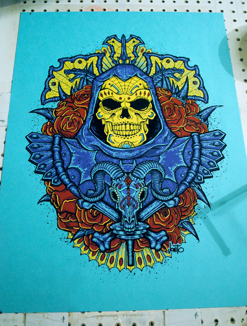 Skeletor Muerto - 4 color on French's Blu