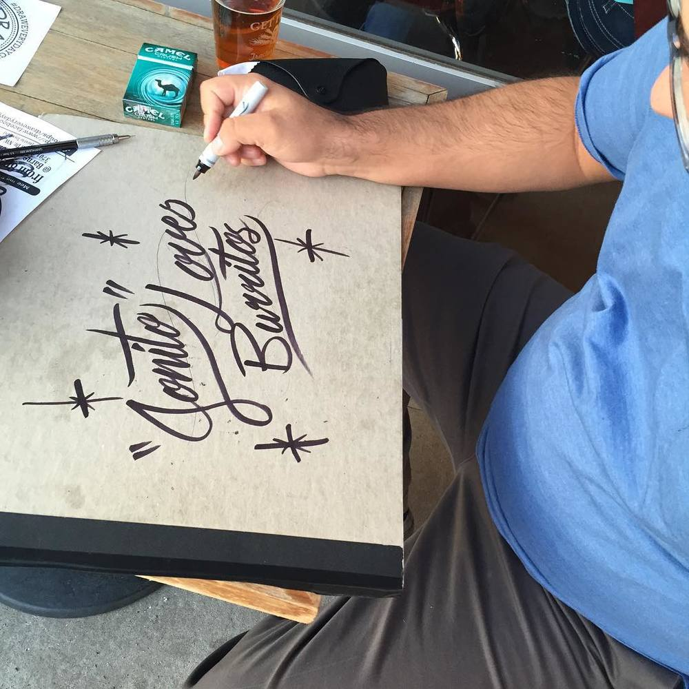 Great creative happy hour with fellow art friends tonight. They've got some big things on the horizon. @jeremymontoya tagging my sketchbook with burrito love. #jonito14 #art #albuquerqueart #iloveburritos #tractorbrewing  (at Tractor Brewing - Wells Park)