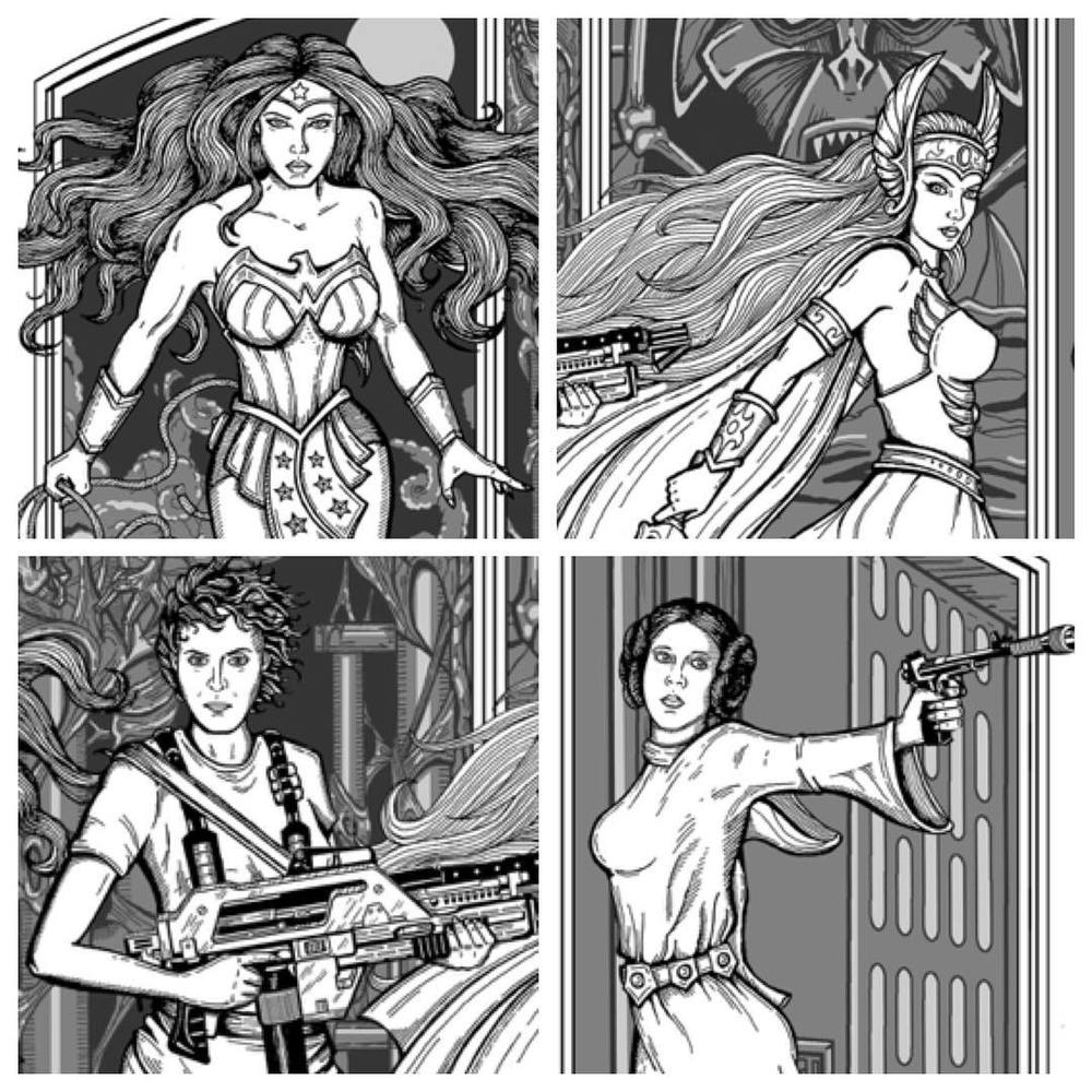 Here's a peek at my💥Women of Wonder💥!! I am illustrating this for the back cover of the #bubonicon program. ❤️ these ladies!! #wonderwoman #shera #ripley #princessleia #wip #jonito14